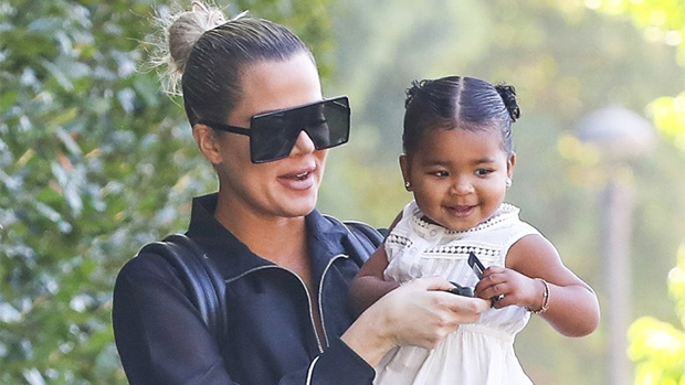 Khloe Kardashian and True Thompson blow bubbles together