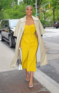 Gabrielle Union rocking a yellow strapless jumpsuit