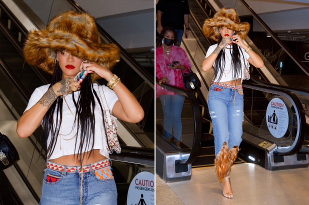 Rihanna Spotted In LA Wearing Feather Jeans Worth $15K - SurgeZirc US
